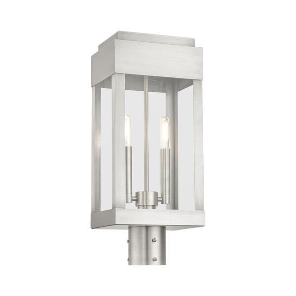 York Brushed Nickel Two-Light Outdoor Post Lantern, image 4