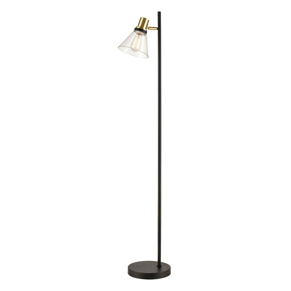 Treno Black and Gold One-Light Floor Lamp, image 1
