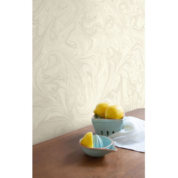 Boho Rhapsody Cream and Ivory Sierra Marble Unpasted Wallpaper, image 1