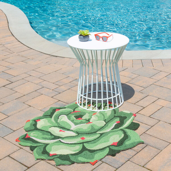 Cucina Succulent Green Round: 3 Ft. x 3 Ft. Round Rug, image 2