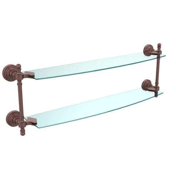 Retro Wave Antique Copper 24 Inch x 5 Inch Double Glass Shelf, image 1