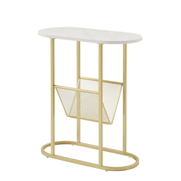 Margo White and Gold Side Table with Magazine Rack, image 1