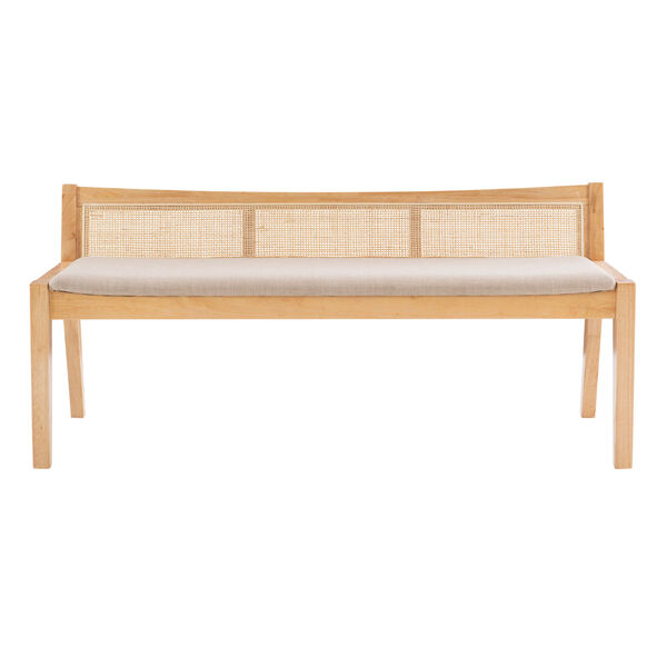 Lillian Natural and Beige Bench with Low Profile Back, image 2