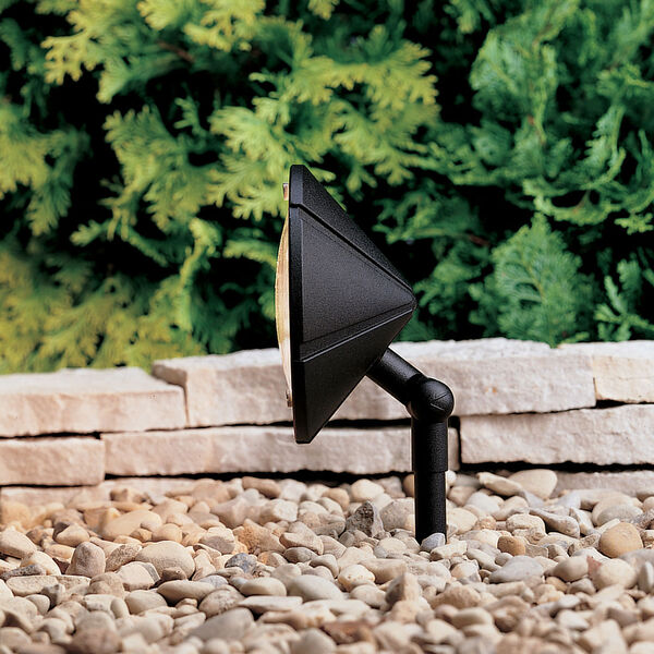 Six Groove Textured Black 6-Inch One-Light Landscape Accent Fixture, image 1