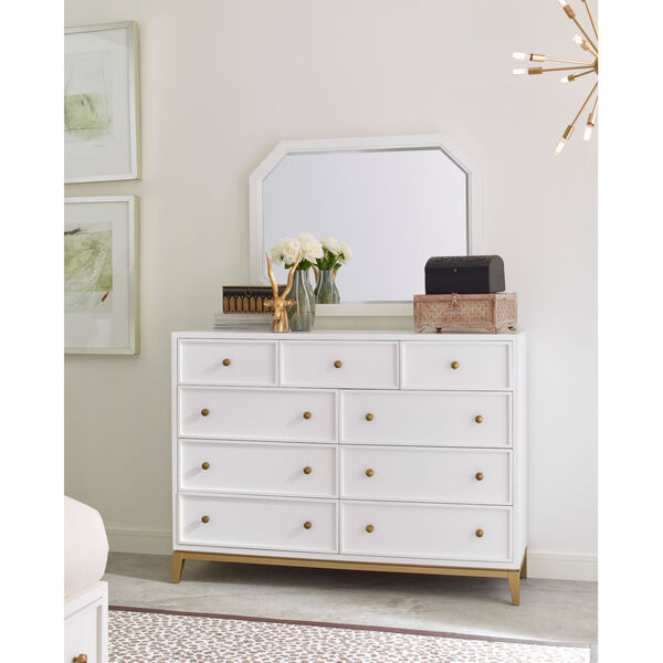 Chelsea by Rachael Ray White with Gold Accents Bedroom Mirror, image 2