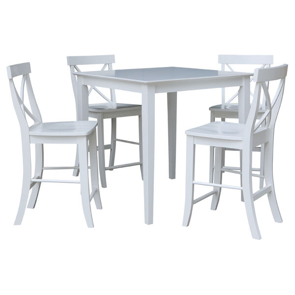 International Concepts White 36 Inch Counter Height Dining Table With Four X Back Stool Set Of Five K08 3636 S6132 4 Bellacor - What Height Chairs For 36 Inch Table