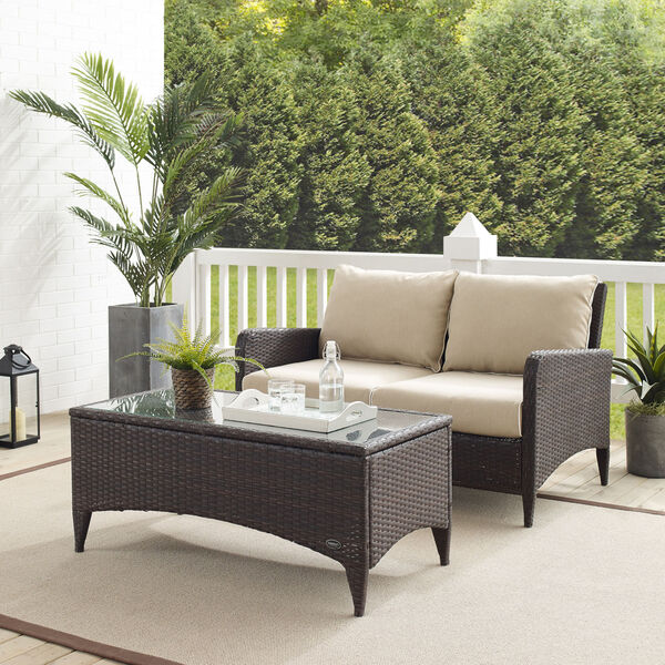 Kiawah Sand Brown Two-Piece Outdoor Wicker Chat Set, image 1