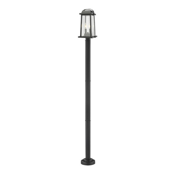 Millworks Black Two-Light Outdoor Post Mounted Fixture With Transparent Beveled Glass, image 1