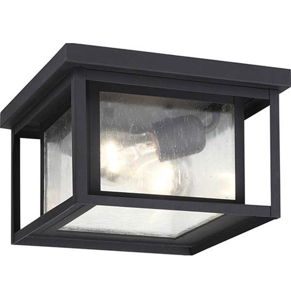 Hunnington Black Two-Light Outdoor Flush Mount with Clear Seeded Glass, image 1