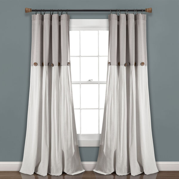 Linen Button Gray and White 40 x 108 In. Single Window Curtain Panel, image 1