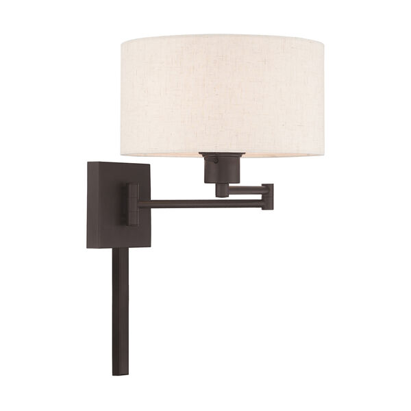 Swing Arm Wall Lamps Bronze 11-Inch One-Light Swing Arm Wall Lamp with Hand Crafted Oatmeal Hardback Shade, image 4