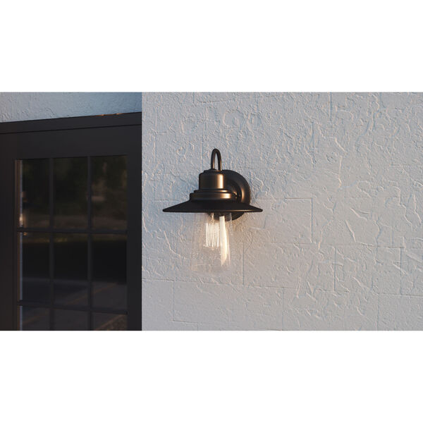Radford Matte Black 10-Inch One-Light Outdoor Wall Sconce with Seedy Glass, image 3