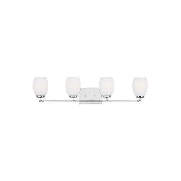 Catlin Chrome Four-Light Bath Vanity with Etched White Inside Shade, image 1