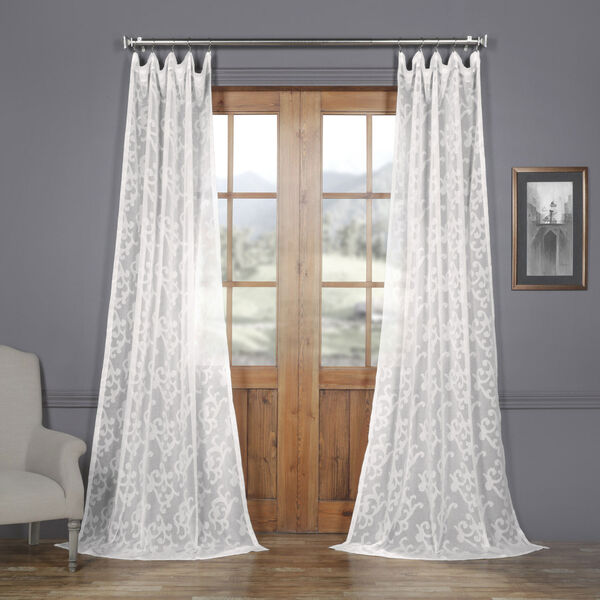 White Scroll Patterned Faux Linen Sheer 84 x 50 In. Curtain Single Panel, image 1