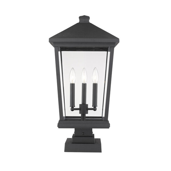 Beacon Black Three-Light Outdoor Pier Mounted Fixture With Transparent Beveled Glass, image 1