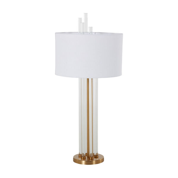 Merna Antique Brass and White One-Light Table Lamp, image 3