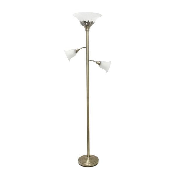 Quince Antique Brass White Shade Three-Light Floor Lamp, image 1