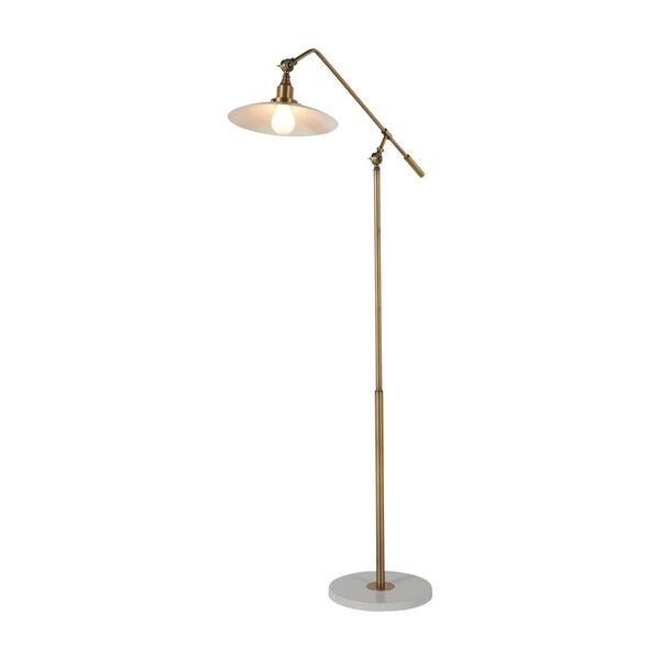 Raphael Matte Brass and Matte White Floor Lamp, image 2