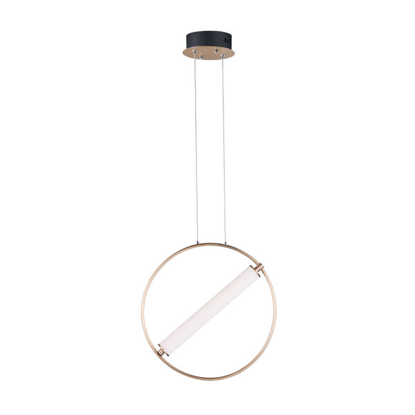 Flare Black and Soft Gold One-Light LED Mini Pendant With Clear and Frosted Glass, image 1