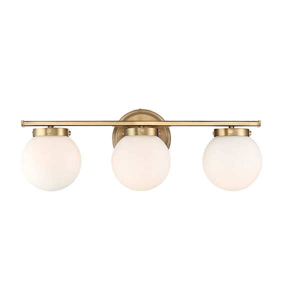 Nicollet Natural Brass Three-Light Bath Vanity with White Opal Glass, image 1