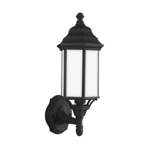 Sevier Black Seven-Inch One-Light Outdoor Uplight Wall Sconce with Satin Etched Shade, image 1