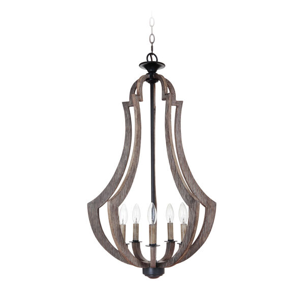 Winton Weathered Pine and Bronze Five-Light 19-Inch Chandelier, image 1