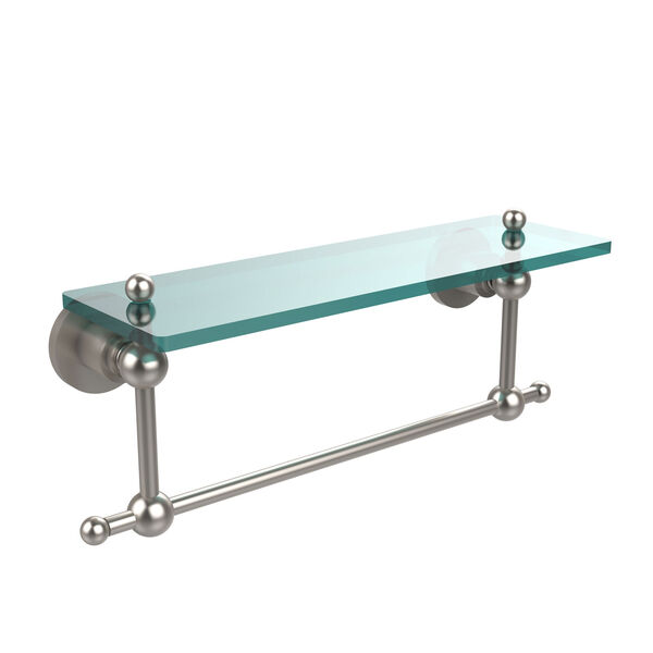Satin Nickel Single Shelf with Towel Bar, image 1