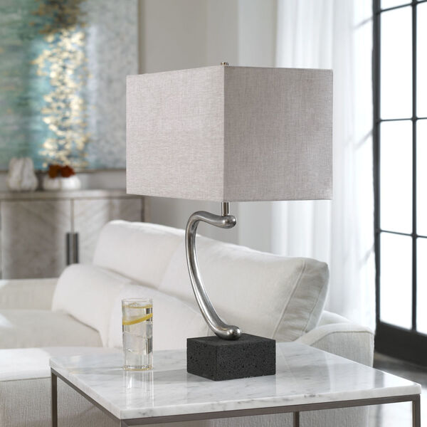 Ezden Silver and Black One-Light Table Lamp, image 4