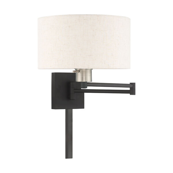 Swing Arm Wall Lamps Black 11-Inch One-Light Swing Arm Wall Lamp with Hand Crafted Oatmeal Hardback Shade, image 2