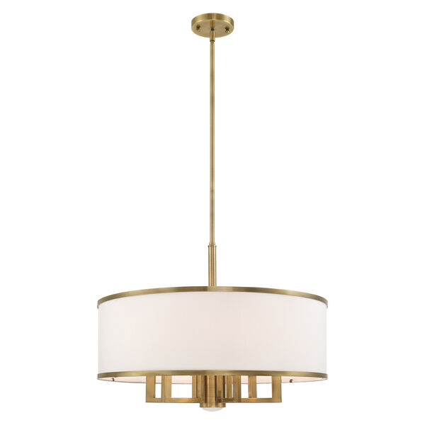 Park Ridge Antique Brass 24-Inch Seven-Light Pendant Chandelier with Hand Crafted Off-White Hardback Shade, image 3