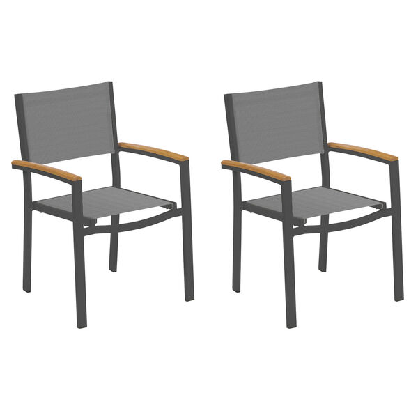 Travira Titanium Sling Natural Tekwood Armcaps and Carbon Powder Coated Aluminum Frame Armchair , Set of Two, image 1