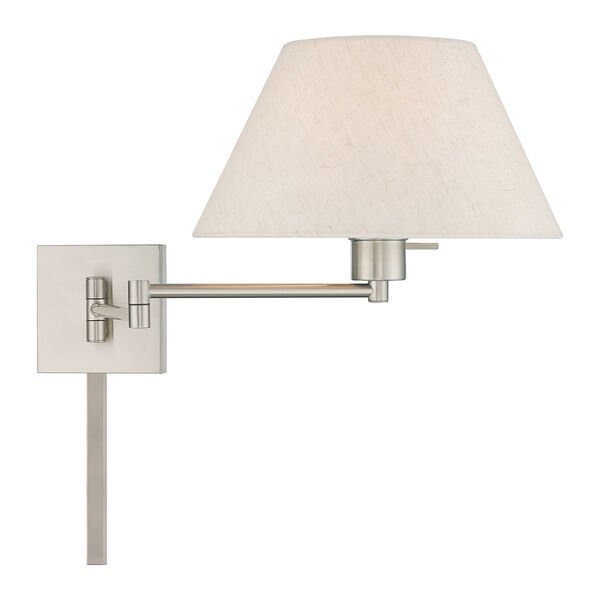 Swing Arm Wall Lamps Brushed Nickel 13-Inch One-Light Swing Arm Wall Lamp with Hand Crafted Oatmeal Hardback Shade, image 4