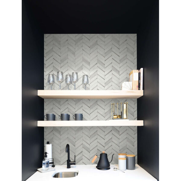 NextWall Gray Chevron Marble Tile Peel and Stick Wallpaper, image 4