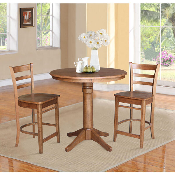 Emily Distressed Oak 36-Inch Round Top Pedestal Table with Two Counter Height Stool, Set of Three, image 1