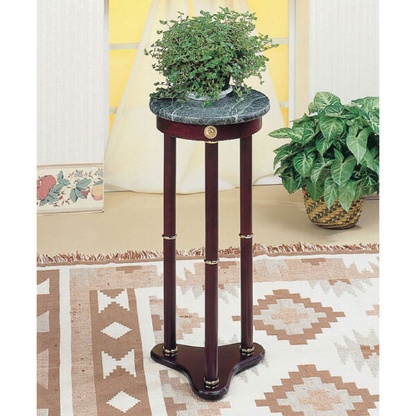 Green Marble Top Round Plant Stand, image 1