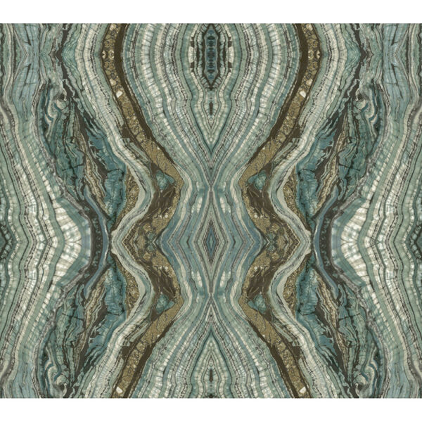 Antonina Vella Elegant Earth Teal Kaleidoscope Bohemian Wallpaper, image 2