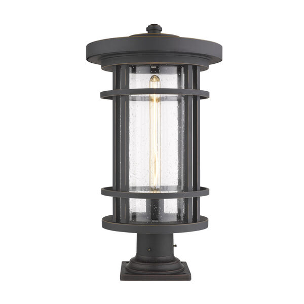 Jordan Oil Rubbed Bronze One-Light Outdoor Pier Mounted Fixture With Transparent Seedy Glass, image 1