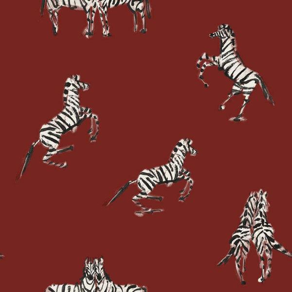 Novogratz Red Zebras in Love Love Peel and Stick Wallpaper, image 2