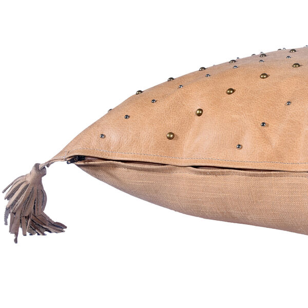 Genuine Leather Tan 20 In. X 24 In. Studded Leather Throw Pillow with Tassel, image 2