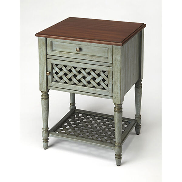 Quinn Rustic Blue End Table, image 1