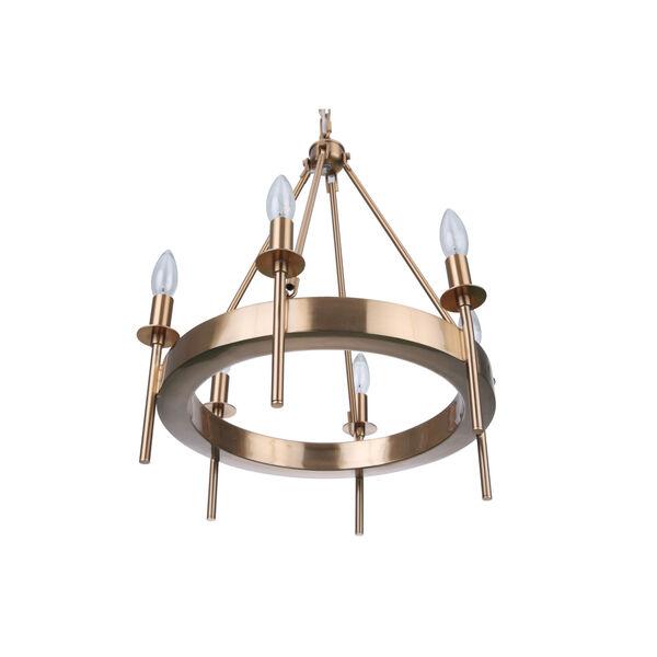 Larrson Satin Brass Six-Light Chandelier, image 4