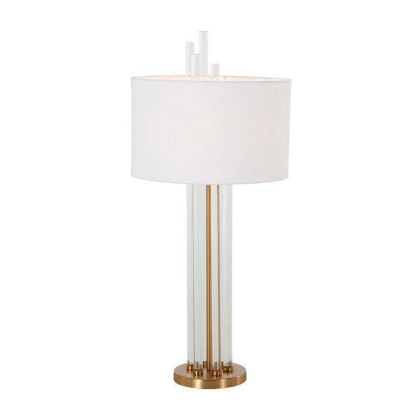 Merna Antique Brass and White One-Light Table Lamp, image 4