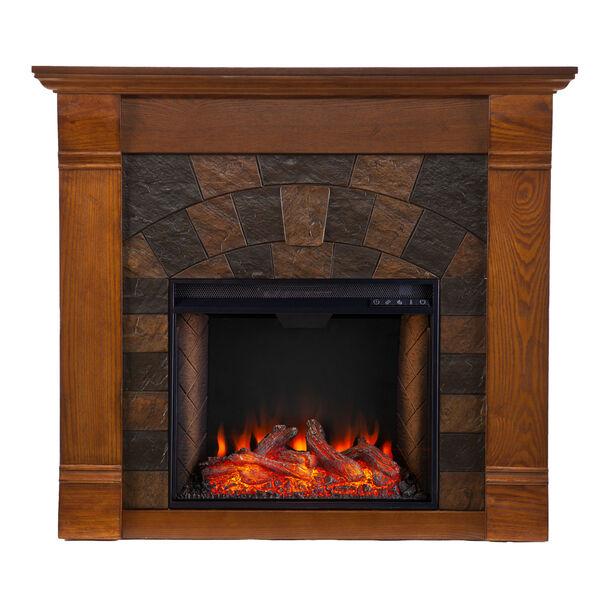 Ellkmont Salem Antique Oak Faux Stone Smart Electric Fireplace, image 2