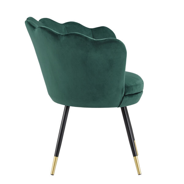 Stella Green Velvet Seashell Armless Chair with Black and Gold Leg, image 3
