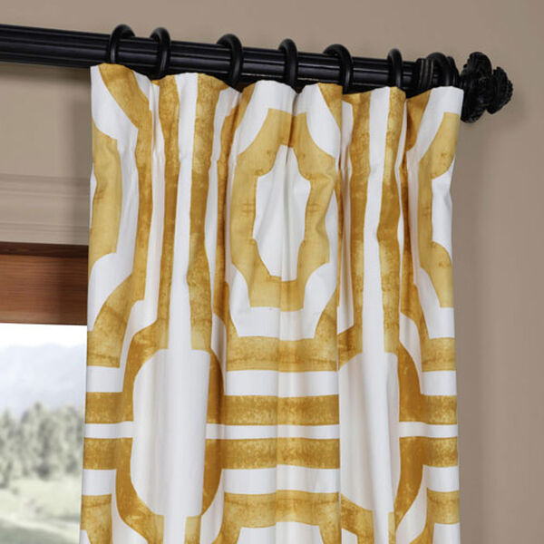 Yellow Gold 84 x 50 In. Printed Cotton Twill Curtain Single Panel, image 2