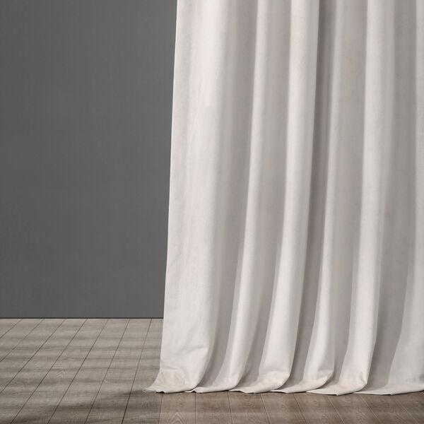 Porcelain White Blackout Velvet Pole Pocket Single Panel Curtain, 50 X 108, image 5