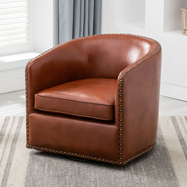 Tyler Caramel Swivel Arm Chair, image 2