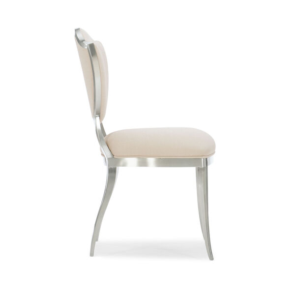 Caracole Classic Lightly Brushed Chrome and Beige Shield Me Chair, image 4