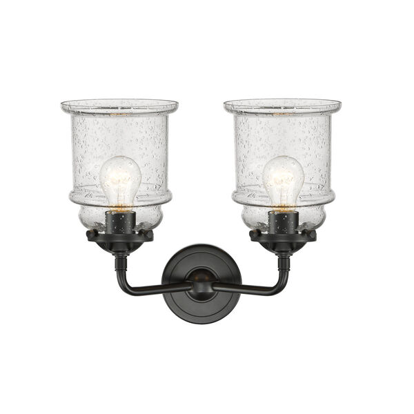 Nouveau Oil Rubbed Bronze 14-Inch Two-Light Bath Vanity with Seedy Glass Shade, image 2