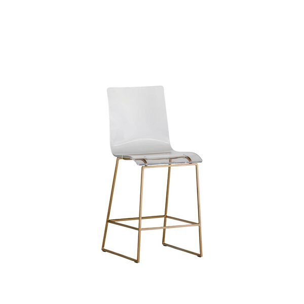 King Antique Gold and Clear Acrylic Counter Stool, image 1